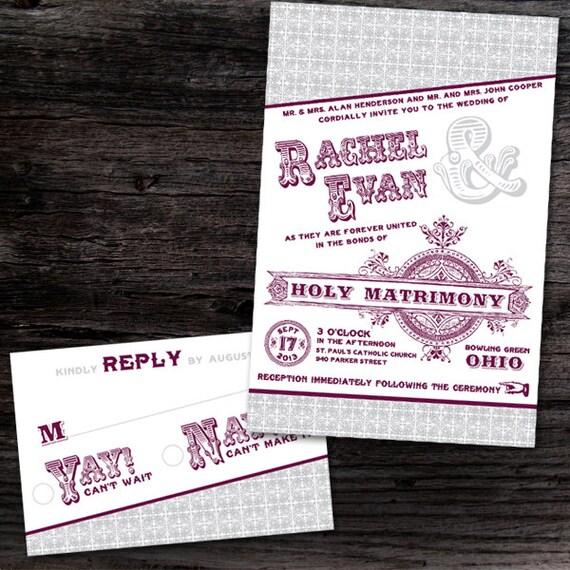 Vintage Handmade Wedding Invitations: Custom Vintage Style Wedding Invitations
