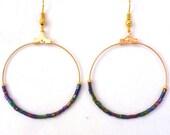 Peacock beaded hoop earrings