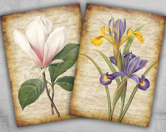 Greeting Cards 2.5x3.5 inch - Digital Collage Sheet - Printable Cards - Backgrounds - ROMANTIC FLOWERS