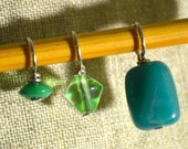 Teal and Green Glass Bead handmade stitch markers for knitting (Qty 12)