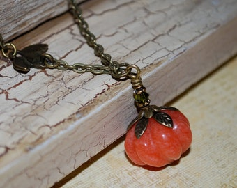 Pumpkin necklace, orange jade stone pumpkin necklace, Fall jewelry, gift, Thanksgiving