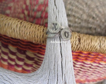 2 Silver Stack Rings with XO Stamp