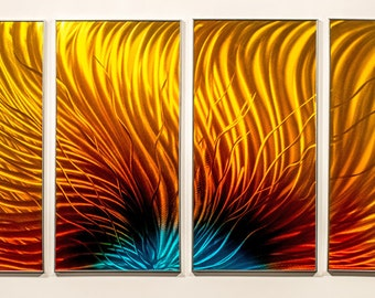 Modern Abstract Painting Metal Wall Art Sculpture Flaming Aura