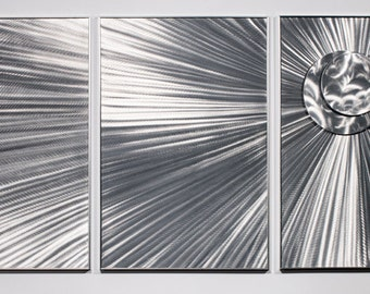 Modern Abstract Painting Metal Wall Art Sculpture Rays of Light