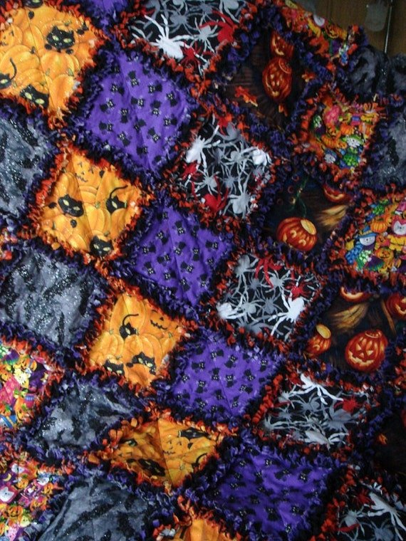 "Sale*** Halloween   Rag Blanket  43"" x 43""   Soft Flannel  and cotton  Halloween theme Fabrics"
