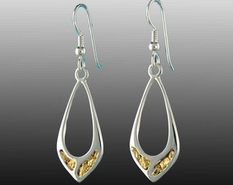 Style 231 Silver Earrings with 22Kt Natural Gold Inlay