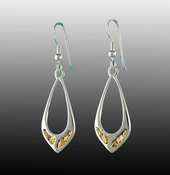 22kt Gold Platinum: Style 231 Silver Earrings With 22Kt Natural Gold Inlay