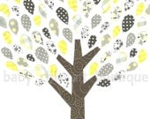 Nursery Yellow and Gray Tree Wall Art, 8x10 Art Print, Room Decor for Children or Kids with Animals
