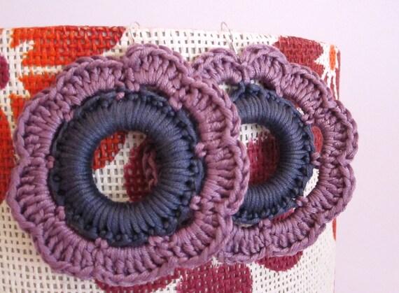 Handmade crochet flower earrings. Violet and grey earrings. women accesories, jewelry.