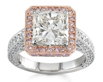 Ladies Platinum Pave Halo Engagement ring with 14kt rose gold top and 1.00 ctw G-VS2 diamonds and 1.50ct Princess White Sapphire