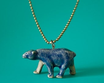 Polar Bear Pendant. Handmade Stoneware Necklace. Bear Jewelry. Ceramic Jewelry. Blue Bear Pendant. Polar Bear Necklace. Handmade Jewelry.