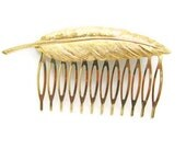 Bride Hair Comb, One Leaf Gold Plated Hair Comb, Wedding, Maid Of Honor, Bridal Hair Accessories