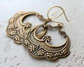 Golden Antiqued Arabesque Hoop Earrings, Gold Tone Dangles, Morrocan Earrings, Boho Jewelry, Art Deco, Boho Jewelry