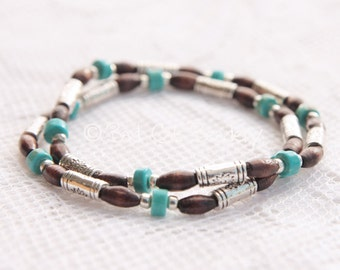 Turquoise Stretch Bead Stack Bracelets with Dark Brown and Tibetan Silver and Silver Plated Beads