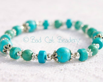 Boho Chic Turquoise Blue Green Stretch Stack Bead Bracelets with Tibetan Silver Beads