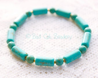 Blue Turquoise Bead Bracelet Stack Column and Round Bead with Gold