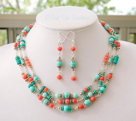 coral turquoise silver jewelry set mothers day gift