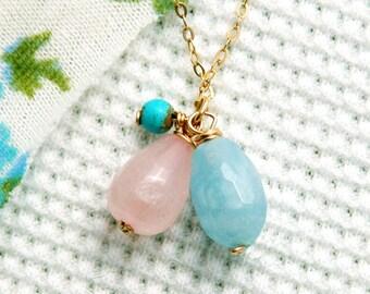 Rose quartz necklace, gemstone necklace, amozonite and turquoise necklace, gold necklace, bridesmaids necklace