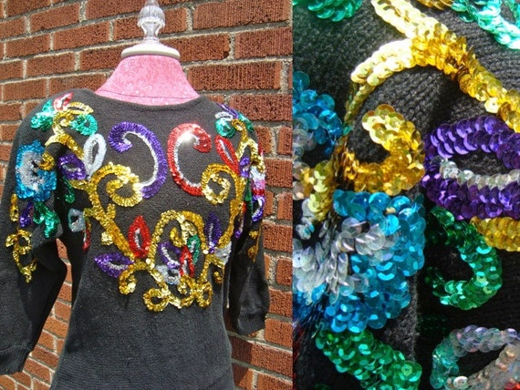 SALE Vintage Hipster Colorful Sequin Sweater Super Sparkly