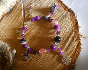 Purple Lavender and violet Amethyst Jade Cherry Quartz and Glass Silver Bracelet Charm