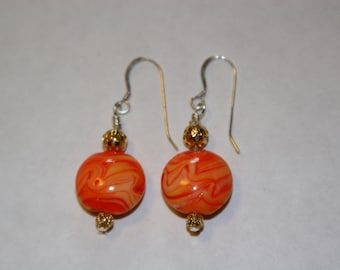 Coral wire wrapped earrings