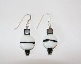 Black and White Chunky earrings