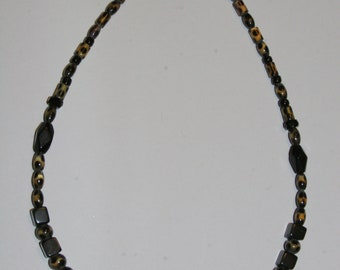 Black and Leopard Beaded Necklace