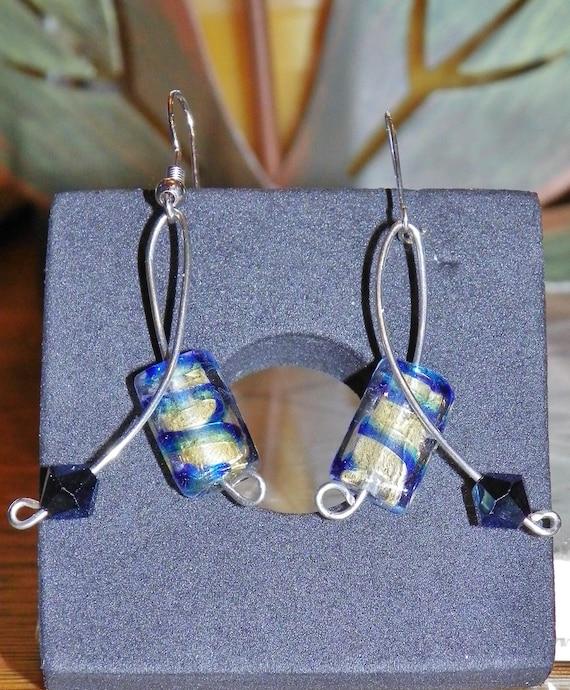Venetian Glass Gold Foil, Navy Blue stripes/ Swarovski crystal, Indigo earrings
