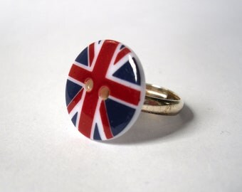 Union Jack Ring, British Flag Button Ring, Red White and Blue Silver Ring