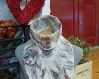 Nuno felted scarf / wool felted scarf / handmade / Merino wool felt scarf / felted scarves / winter scarf