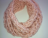 Soft Pink Alpaca Blend Chunky Infinity Scarf.
