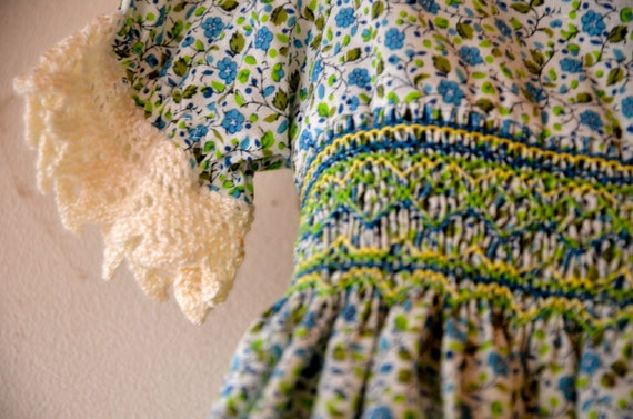 Sweet floral girls dress with crochet, smocking, green bows handmade prairie style