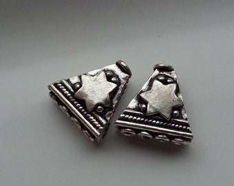 2 Pieces Multi Strand (4) Sterling Silver Connector Beads 13mm x 13.5mm
