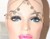 HEAD CHAIN Head PIECE Grecian Goddess Gold  Center  Hair Piece