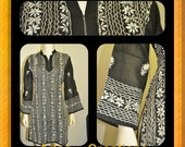 Kurti Tunic Size L Ethnic Clothing for Women Tunic Blouse Top Hand Embroidered Kurti  Pure Cotton Black Kurta Sari Kameez