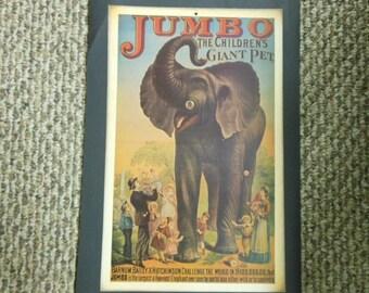 Jumbo Circus Elephant Vintage Print Reproduction Poster Early Barnum & Bailey Victorian Art Nostalgia