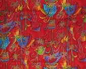 1.25 YARD REMNANT - Laurel Burch Christmas fabric - Holiday Celebration red with birds