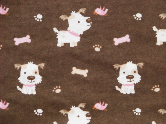 Fluffy Dog Flannel Fabric -  white dog with tan spots and pink collar on brown flannel - FLAWED - yard and a half