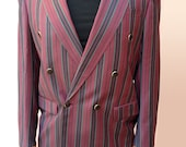 Burgundy Navy and Silver Striped Boating / Regatta / College / Private School / Blazer / Jacket