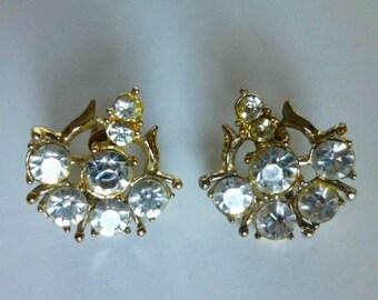 Vintage Coro Rhinestone Earrings 1950s