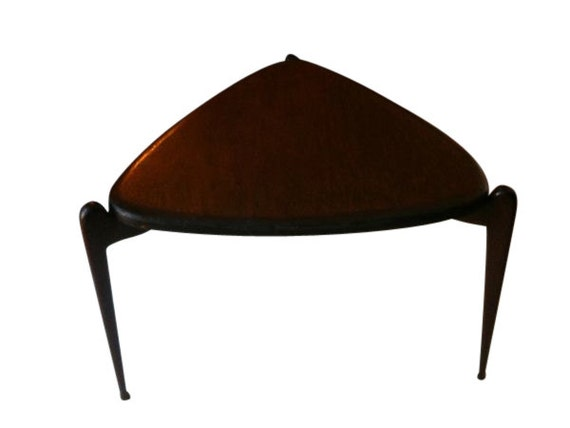 Mid Century Guitar Pick Triangle Side Table