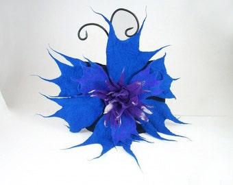 Felted Clutch Flower Bag Cornflower bag felt  nunofelt nuno felt flower fairy fantasy folk Boho silk wool