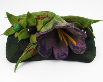 Felted Clutch BELLADONNA Bag (Atropa belladonna L.) POISONS handbag felt Nuno felt purple green fairy floral fantasy Fiber Art boho