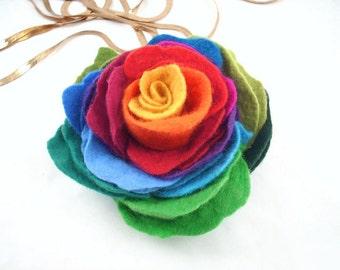 Felted Brooch Felt Multicolor Brooch Rose nunofelt silk flower folk boho red pink tangerine ruby rainbow multicolor fairy