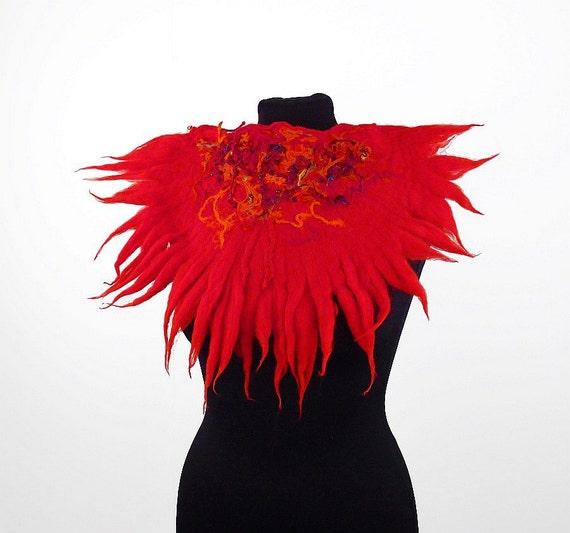 Felted Collar Nunofelt Collar Red Felt Necklace BEDOUIN BEAUTY Nuno felt collar Art deco silk fairy floral fantasy Fiber Art boho