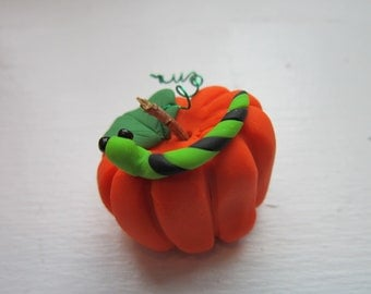 Miniature Polymer Clay Pumpkin