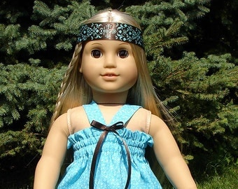 1970s Style Blue and Brown Hippie Dress, Headband, made to fit 18 inch dolls