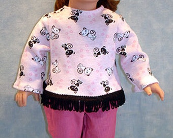 18 Inch Doll Clothes - Black and White Cats on Pink Pants Set made to fit 18 inch dolls