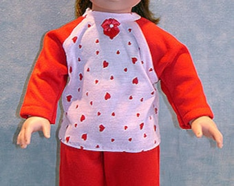 18 Inch Doll Clothes - Red and Pink Hearts Pant Set made to fit 18 inch dolls