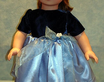 18 Inch Doll Clothes - Navy Velvet Blue Satin Holiday Dress for 18 inch dolls